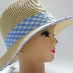 Natural with Blue Gingham Trim M/L